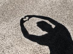 Shadow silhoutte holding hands in heart shape Stock Photos