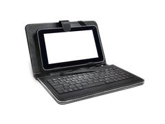 black tablet pc case, keyboard and stylus - stock photo