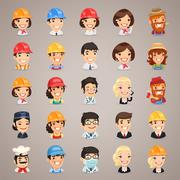 professions vector characters icons set - stock illustration