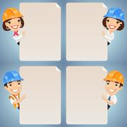 foremen cartoon characters looking at blank poster set - stock illustration