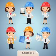 managers cartoon characters set - stock illustration