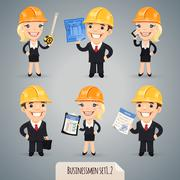 businessmen cartoon characters set - stock illustration