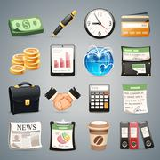 business icons set - stock illustration
