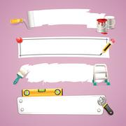 construction text boxes set - stock illustration