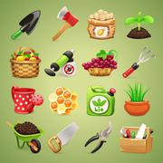 farmers tools icons set - stock illustration