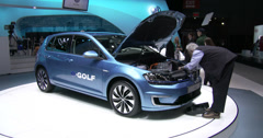 New e-Golf at the New York International Auto Show - stock footage