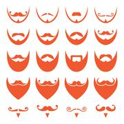 Stock Illustration of Ginger beard with moustache or mustache vector icons set