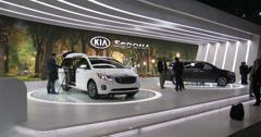 New Kia Sedona at the New York International Auto Show Stock Footage