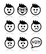 Man or boy with spiky hair faces icons set - stock illustration