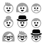 People with grey hair, seniors, old people icons set - stock illustration