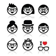 People wearing glasses, geek icons set Stock Illustration