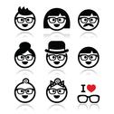 Stock Illustration of People wearing glasses, geek icons set