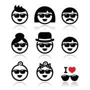 People wearing sunglasses, holidays icons set Stock Illustration