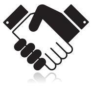 Handshake glossy black icon Stock Illustration