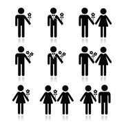 Man with flower, woman and couples icons set Piirros