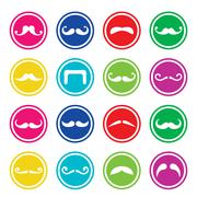Stock Illustration of Moustache or mustache round colorful vector icons