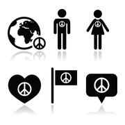 Peace sign with people and globe icons set - stock illustration