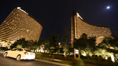 Evening drive on las vegas trip outside encore and wynn Stock Footage