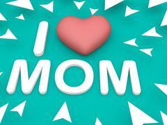 I love mom, aqua background Stock Illustration