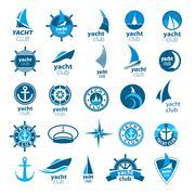 collection of vector logos marina - stock illustration