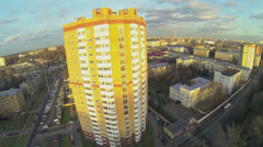 Tall dwelling house for servicemen against cityscape in Moscow Stock Footage
