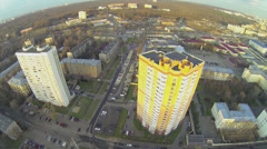 City panorama with caserns and dwelling houses at autumn Stock Footage