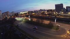 Traffic on Gannushkina quay near gas station at autumn evening Stock Footage