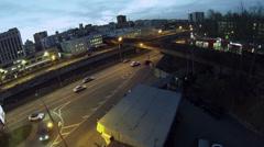 Traffic on Gannushkina quay near gas station. Stock Footage