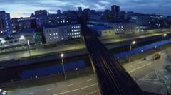 Cars ride by Gannushkina quay under Preobrazhensky bridge Stock Footage