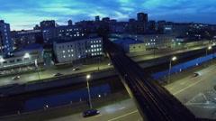 Traffic on quay near Preobrazhensky railway bridge over river Stock Footage