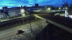 Metro train rides by Preobrazhensky bridge over Yauza river Stock Footage