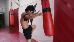 2of20 Asian man training kickboxing in gym as fighter Stock Footage