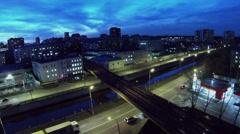 Traffic on Gannushkina quay near filling station at autumn Stock Footage