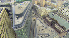 Panorama of city with traffic near Rizhsky railway station Stock Footage