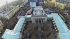 Cityscape near edifice of former club of publishers Pravda Stock Footage