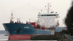 Tanker ship, bro anna leaves manchester ship canal, River Mersey Stock Footage