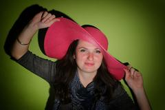 woman with pinky hat - stock photo