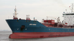Oil chemical tanker ship, bro anna, River Mersey, Liverpool Stock Footage