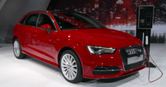 Audi A3 e-tron at the New York International Auto Show - stock footage