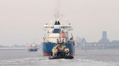 Tanker ship, bro anna sails in the river mersey, liverpool, england Stock Footage