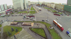 Transport ride by crossroad on Preobrazhenskaya square Stock Footage