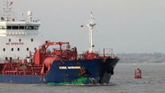 Oil chemical tanker ship, nordic marianne sails, river mersey, liverpool Stock Footage