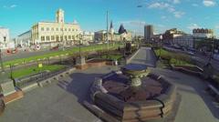 Komsomolskaya square with traffic near railway stations Stock Footage