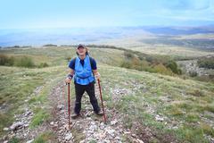 man on mountain grobnicke alpe - stock photo