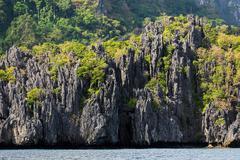 limestone cliff in palawan - stock photo