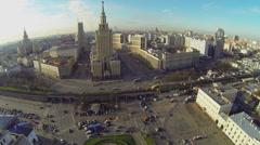 Traffic near Leningradskaya hotel and Komsomolskaya Square Stock Footage