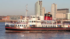 mersey ferry arrives at seacombe terminal, wirral, river mersey, england - stock footage