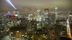 Montreal down town winter night view Stock Footage