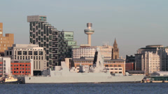Royal navy war ship, hms dragon, type 45 destroyer, liverpool, england Stock Footage