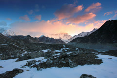 4K. Timelapse sunrise in the mountains Cho Oyu, Himalayas, Nepal. Stock Footage